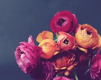 Dark gray floral still life - ranunculus flowers - bouquet photograph - deep colors orange pink - bedroom wall art 16x20 'Deep Blooms'