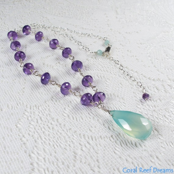 Amethyst Chalcedony Necklace - Large Aqua Chalcedony Pendant on Amethyst Rosary Chain Necklace, Sterling Silver, February Birthstone (N0340)