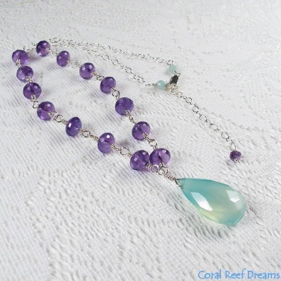 Amethyst Chalcedony Necklace - Large Aqua Chalcedony Pendant on Amethyst Rosary Chain Necklace, Sterling Silver, February Birthstone (N0340)