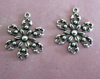 2 Silver Snowflake Charms 3561