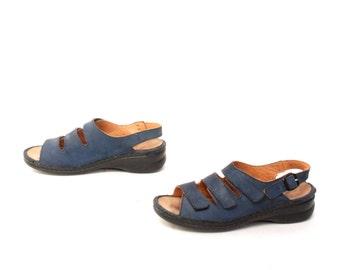 size 8.5 PLATFORM navy blue leather 80s 90s STRAPPY WEDGE slingback sandals