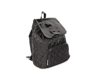 GRUNGE black nylon 80s 90s QUILTED slouchy BACKPACK goth mini knapsack