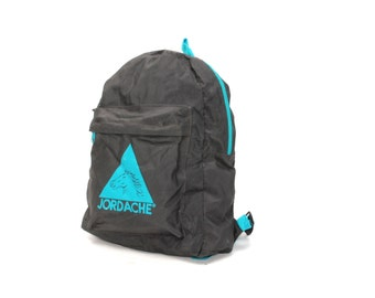 JORDACHE black nylon canvas 80s 90s BACKPACK mini unisex GRUNGE knapsack