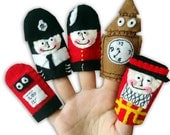 London , England British Finger Puppets / Felt Children's / Police Man / Big Ben / Soldier / Beefeater / Postbox
