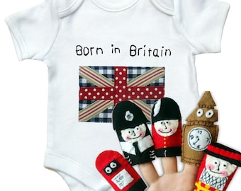 Britain Babygro and Finger Puppets Gift Set / New Baby / Bodysuit / All in One / One Piece / England / London Gift / UK