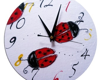 Ladybug Clock / Ladybird Children's / Boys / Girls Wall Clock / Nursery Decor
