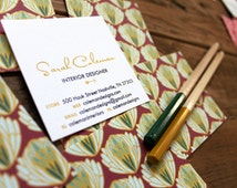 square calling cards artichoke pattern greens and magenta - set (50)
