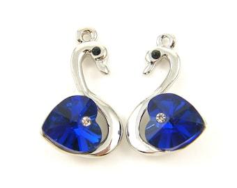 Silver Swan Earring Findings, Blue Crystal Heart Earring Dangles, Crystal Swan Pendant Charms, Blue Swan Pendants  B5-10 2M