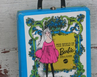 Details about  Vintage 1968 World of Barbie Doll Case Blue Green (00104-BB)