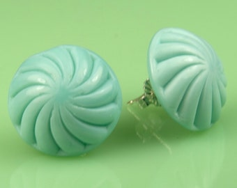 Vintage Glass Turquoise Post Earrings