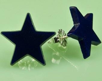 Vintage Navy Glass Star Post Earrings
