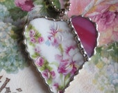 Vintage Recycled Shabby Broken China - Hand Painted Roses and Beautiful Iris - Heart Pendant - Necklace