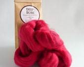 Deep pink merino roving, 25g (1oz) Deep Rose, 21 micron, merino roving, merino tops, felting wool, needle felting, wet felting