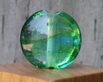 Handmade Glass Lampwork Focal Bead Teal, Aqua, Green Transparent