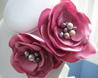 fabric flower brooch - antique rose blooms with multicolored freshwater pearls - Ready To Ship