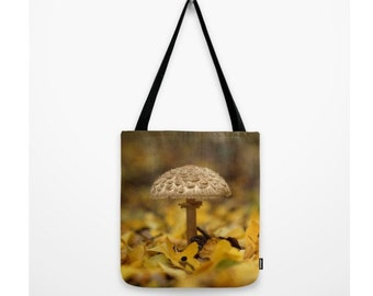Lepiota Mushroom Bag Woodland Scene Tiny Mycena Mushroom Forest Bag Mycology Natural History Zen Forest Scene Green Moss