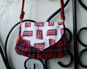 Red Plaid Tartan London Double Decker Bus Envelope Clutch Shoulder Bag