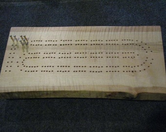 Curly Maple Cribbage Board with Live Edge