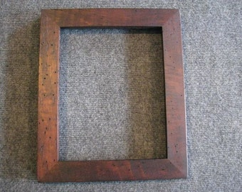 8x10 Lightly Curly Maple with worm tracking Brown Dye Picture Frame F