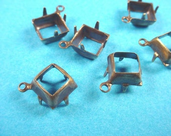 18 Brass ox Square Prong Settings Open Back 1 Ring 8x8