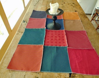 Designer Fabric Table Cloth In Shades of Red, Blue, Green And Beige