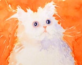 Persion Cat Artwok Watercolor PRINT / White Fluffy Pet art cat kitty kitten lovers / Colorfield orange painting / Wall decor childs room