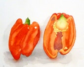 Fresh Red Peppers Art / Watercolor Painting Print / Vegetable garden art / Gift Sweet peppers / Kitchen art / Wall decor / Home and Living