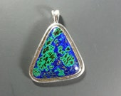 Striking Azurite/Malachite Pendant in Sterling Silver Hand Fabricated Setting