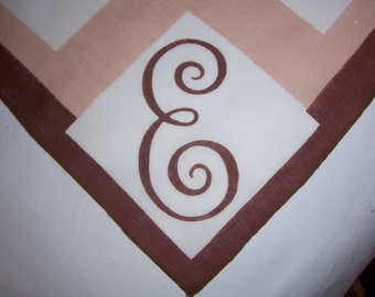 Vintage Brown Tan and White Hanky with a Brown Initial E  - Hankie Handkerchief