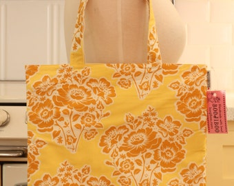 Book Bag Tote Purse - Mustard Flowers on Yellow