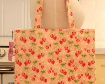 Book Bag Tote Purse - Strawberries on Pink