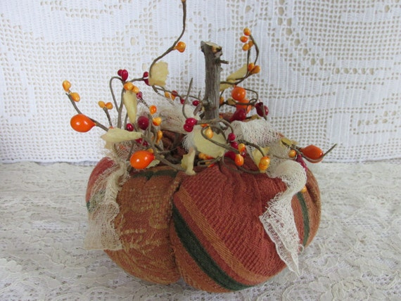 Primitive Pumpkin, Eco Friendly Pumpkin from Vintage tablecloth fabric with pip berries, Fall Bowl Filler, Thanksgiving Make Do, fall trends