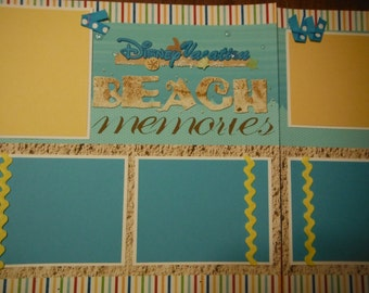 Disney Vacation Beach Memories Premade 12x12 Scrapbook Pages for Family Vacation DisneyWorld