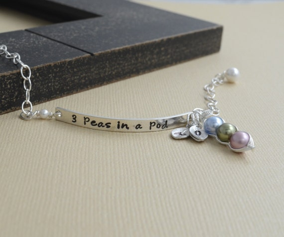 pea pod bracelet, 3 peas in a pod, mommy bracelet, gifts for mom, sterling silver, ID triplets, sister gift, personalized gift, baby shower