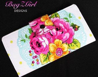Handmade Long Wallet BiFold Clutch-Paula Prass - Summer Soiree-white-Blue-Pink Roses
