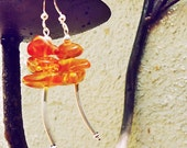 SALE, Natural Amber & Sterling Silver Earrings
