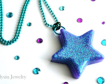 Resin Star Necklace, Blue Purple Pendant, Glitter Rave Star Jewelry