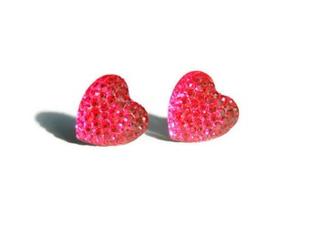 Bright Pink Earrings, Crystal Hearts, Studs, Sparkly Stud Earrings