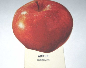 Vintage 1970s Food or Nutrition Die Cut Cardboard School Decoration of an Apple