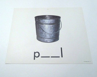 Vintage 1960s Children's Giant Sized School Flash Card with Picture and Word for Pail by Milton Bradley