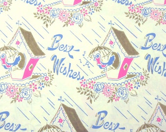 Vintage Bridal Shower or Wedding Wrapping Paper or Gift Wrap with Birds Birdhouses Flowers Best Wishes