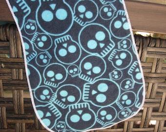 burp cloth, blue skulls