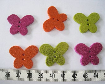 20pcs of  Glittering Butterfly Button Pink Orange Lime Green 28mm