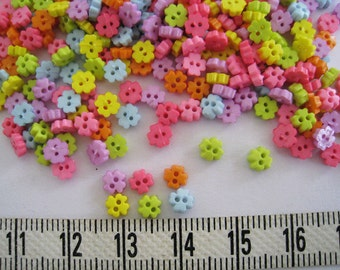 100pcs of Super Tiny Four Pedals Flower Button - 4mm - Pink Blue Purple Yellow Lime