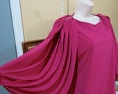 women's dress magenta hot pink 80s dress accordion sleeve rhinestone embellished