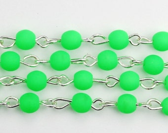 Bead Chain Czech Glass Round 4mm Neon Green and Silver (1 Foot) CH102