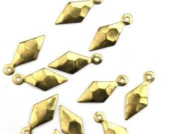 Hammered Diamond Charm Small Raw Brass Pendant (8) CP219