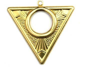 Triangle Open Circle Art Deco Large Charm Pendant Raw Brass (2) CP252