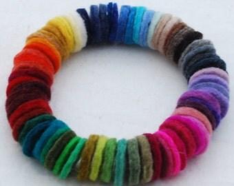 100% Wool Felt Die Cut Circles - 3cm - 50 Count - Assorted Colors