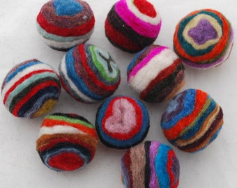 2.5cm - 100% Wool Felt Balls - 10 Count - Assorted Striped Felt Balls